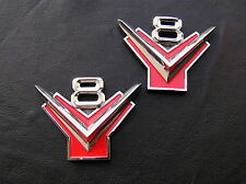 ~ FORD V8 Y BLOCK PAIR Metal Car Emblems Badges *NEW!* Suit Customline Fairlane