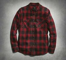 Men's Harley Davidson Red Plaid Flannel Shirt Size X-Large