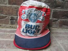 "Vintage 1980s BUD LIGHT Tall Aluminum Can Painters Cap 7"" Tall"
