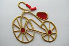 "#3393L 6-1/4"" Gold,Red Bicycle Embroidery Applique Patch-Large"