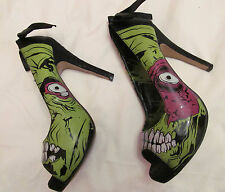 IRON FIST ZOMBIE STOMPER  pin up rockabilly goth punk peep toe horror shoes 7 M