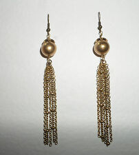 LONG TASSEL EARRINGS CHAIN DARK GOLD PLATED MATCHING NECKLACE ALSO LISTED