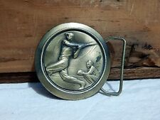 Vintage Baseball Belt Buckle 1977 Great American Buckle Co Chicago Brass Limited