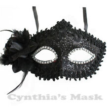 Black Floral Mask w/Rhinestones and Glitter BZ627B for Party & Display
