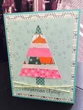 "Stampin Up ""Christmas Cheer"" Modern Chic Holiday Tree Glitter Handmade Card"