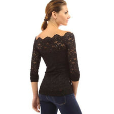 Sexy Lady Floral Lace Long Sleeve Off Shoulder Boat Neck Sheer Top Blouse New