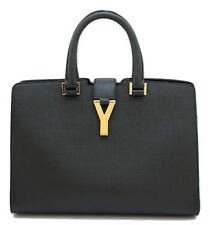 YSL Yves Saint Laurent Y-Ligne Leather Hand Bag Black
