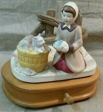 """MUSIC BOX  """"AUTUMN LEAVES"""" FIGURINE HOUSE OF LLOYD GIRL PLAYING W/ HER KITTY CAT"""