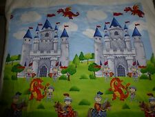 "LITTLE KNIGHTS QUEST DRAGON CASTLE FABRIC LARGE PANEL Cotton Quilting 46""x 44"""