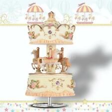 "Laxury Windup 3-horse Carousel Music Box Gift Melody ""Castle in the Sky"" F6V5"