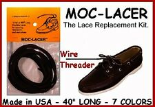 New! Dark Brown with a Light edge Leather LACES for Boat, Deck Shoes Mock Lacer