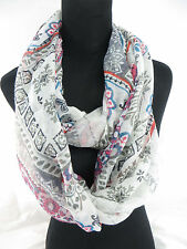 US SELLER-bohemian retro ethnic print infinity scarf wholesale eternity scarf