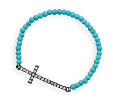 """Stackable Turquoise Magnesite Silver Sideways Crystal Cross Stretch Bracelet 7"""""""