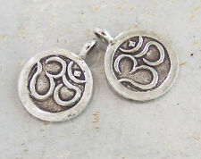 Karen Hill Tribe Silver 2 Ohm Print Pendants  13.5mm.