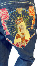 Virgin Mary embroidered patch Jean pant 38 hip hop Sean Jordin sample loose