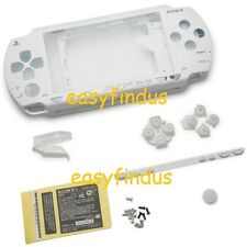PSP 1000 Full Housing Shell Case repair parts white umd door button sticker New