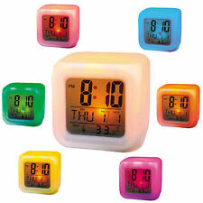 LED Color Changing Digital Alarm Calendar Temperature Clock Birthday Gift Gadget
