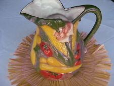 "NEW Hand Painted Ceramic Multi Color Pitcher w Fruit & Vegetables  ""My Way"""