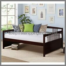 Full Size Furniture Pine Spruce Day Bed Frame Espresso Finish Wooden NEW
