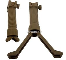 Tactical Airsoft Easy Button Bipod Fore Grip fit 20mm RIS Rail AEG or GBB (Tan)