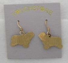 Polish Lowland Sheepdog Jewelry Gold Dangle Earrings by Touchstone