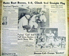1953 hdln newspaper BROOKLYN DODGERS win NL pennant-TO WORLD SERIES v NY YANKEES