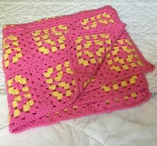 Crochet Afghan Granny Square Pink Yellow Baby Girl Nursery Homemade Quilt