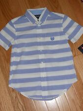 NWT - Chaps short sleeved ivory & blue striped button down shirt - 6 boys