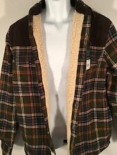 NWT Field & Stream Sherpa Lined Flannel Shirt Jacket Small Green Olive New Coat