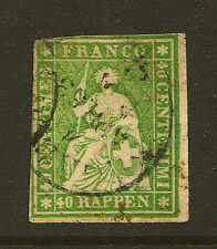 SWITZERLAND:1858 40r yellow-green Sitting Helvetia imperf SG 51a used