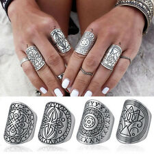 4 pcs Women Gypsy Boho Vintage Silver Carved Totem Antique Midi Ring New