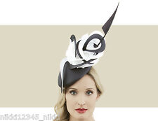 PHILIP TREACY BLACK COUTURE BERET IN LYCRA WITH COUTURE SWIRLS, ROSETTE & ARROW