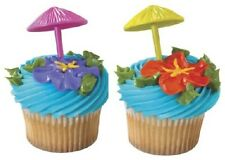 UMBRELLA 3D CUPCAKE PICKS Cake Toppers Decorations Party Supplies Luau Beach 24