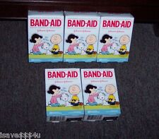 5 BOXES J & J SNOOPY & PEANUTS GANG BAND-AID BRAND ADHESIVE BANDAGES FOR KIDS