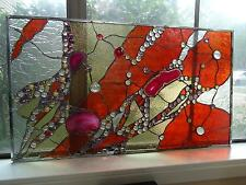 Abstract Stained Glass Transom Panel  Window Suncatcher Divider Agates Nuggets