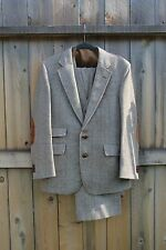 (40R) Vintage Men's Brown Bespoke Tweed Wool Elbow Patch 3 Piece Suit