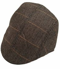 MENS MARC DARCY CHECKED TWEED CHECKED FLAT CAP - DX7 TAN