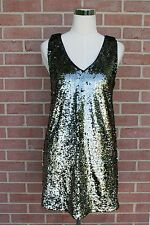 FOREVER TWENTY ONE GUNMETAL BLACK SEQUINED DRESS SLEEVES SIZE S NEW W/TAGS!