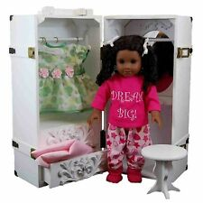 "18"" Doll Clothes Storage Trunk Case w/Vanity,Stool,Hangers Fits American Girl WH"