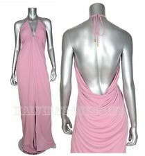 $1,995 GUCCI GOWN VISCOSE JERSEY DEEP V-NECK DRESS SEXY FRONT SLIT PINK sz 40