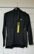 MENS ADIDAS CLIMAWARM TEXTURED PULLOVER HOODIE ATHLETIC SWEATSHIRT SMALL Black*