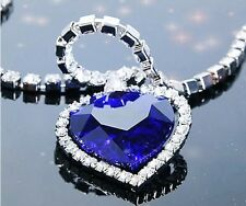 Heart of Ocean Blue Crystal Diamond Necklace Chain Pendant Necklace Fashion
