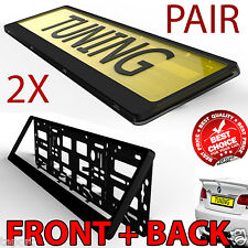 2x Black ABS Number Plate Surrounds Holder Frame bmw audi skoda best value
