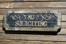 No Soliciting Sign Carved Wood Plaque Antique Brass Finish