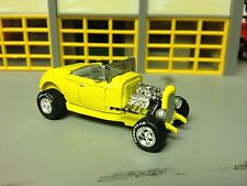 1/64 32 Ford Hi-Boy Roadster in Yellow/Gray Int.with a 350 Motorwith Rubber GY's