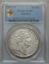 DENMARK CHRISTIAN VIII  1847-FF  SPECIEDALER SILVER COIN, CERTIFIED PCGS AU50