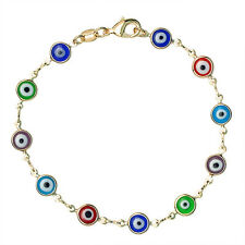 Stunning 7 Inch Multi-Color 11MM Round Evil Eye & Gold Plated Bracelet