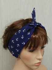 50's headband, rockabilly anchor hair band, pin up head scarf, retro bandanna