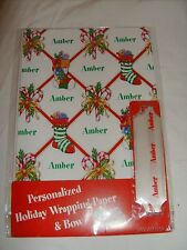 "NEW! PERSONALIZED ""Amber"" HOLIDAY WRAPPING PAPER +BOW! Christmas Gift Wrap"