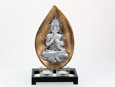 BOUDDHA THAI ASSIS ARGENTE 2 BOUGIES